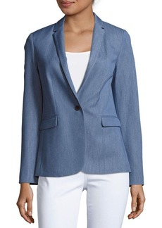 Elie Tahari Leah Chambray One-Button Jacket