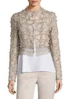 Elie Tahari Leanne Embroidered Cropped Jacket