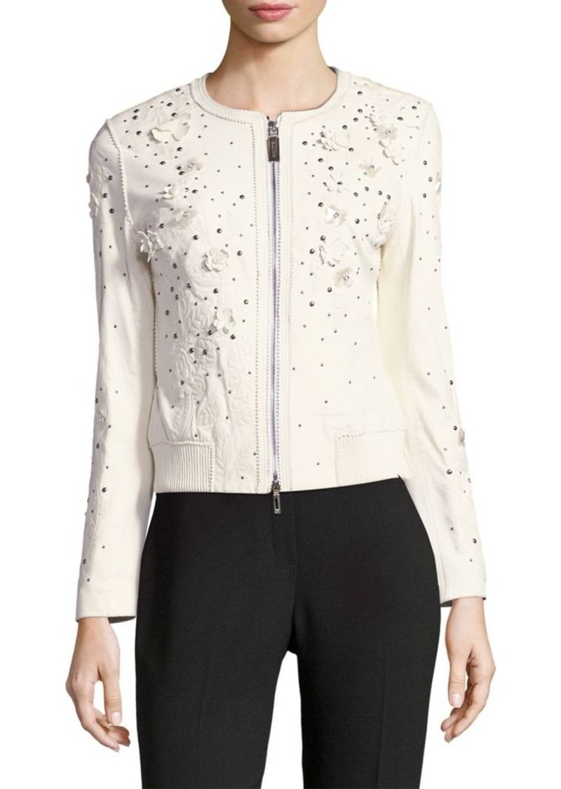 Elie Tahari Leather Bomber Jacket