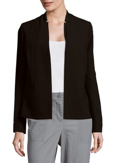 Elie Tahari Leather Collar Solid Open-Front Jacket