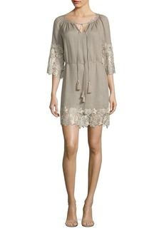 Elie Tahari Lilah Lace Trim Dress