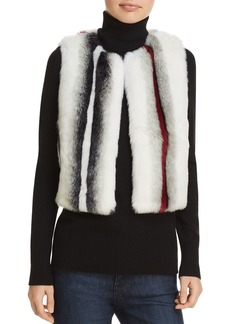 Elie Tahari Lilian Striped Faux Fur Vest