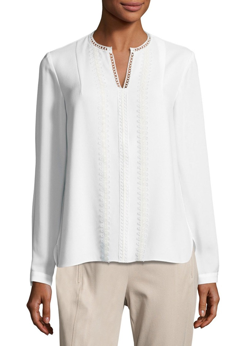 c25b362bf1b94 Elie Tahari Elie Tahari Lilianna Long-Sleeve Lace-Trim Blouse Now  93.00