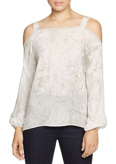 Elie Tahari Lindy Cold Shoulder Floral Silk Blouse