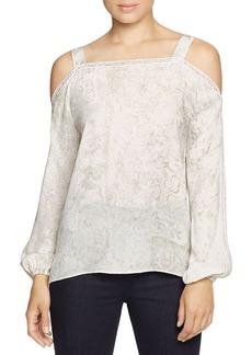 Elie Tahari Lindy Cold Shoulder Floral Silk Blouse