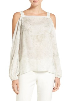 Elie Tahari 'Lindy' Print Silk Cold Shoulder Blouse