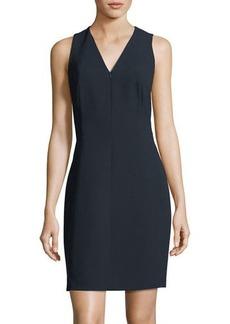 Linzra Zip-Front V-Neck Sheath Dress