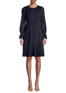 Elie Tahari Lizzie Lace-Sleeve Knit Dress