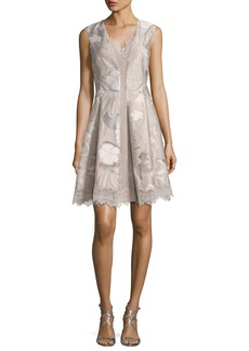 Elie Tahari Lola Sleeveless Floral Lace-Trim Dress