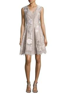 Elie Tahari Lola Sleeveless Floral Lace-Trim Dress
