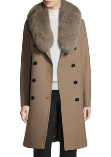 Tahari Long Double-Breasted Pea Coat w/ Fox Fur Collar  Musk
