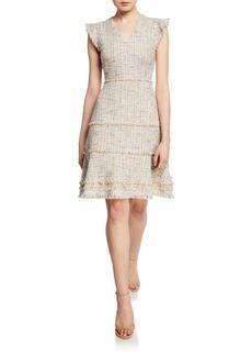 Elie Tahari Loraine V-Neck Short-Sleeve Tweed Dress