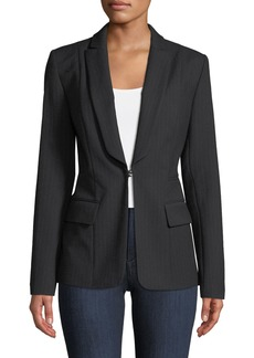 Elie Tahari Lorelei Hook-Front Pinstripe Wool-Blend Jacket