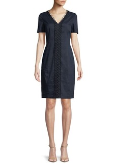 Elie Tahari Loretta Appliquéd Sheath Dress