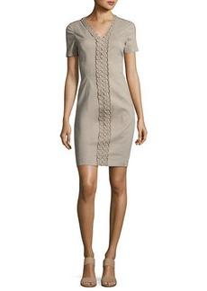 Elie Tahari Loretta Short-Sleeve Linen-Blend Sheath Dress