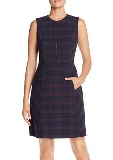 Elie Tahari Louisa Plaid Zip-Front Dress