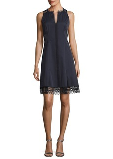 Elie Tahari Loz Sleeveless Lace-Trim A-Line Dress