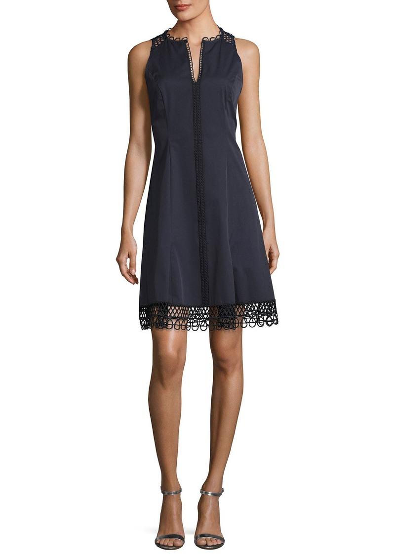 Elie Tahari Loz Sleeveless Lace-Trim A-Line Dress