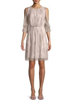 Elie Tahari Luciana Georgette Cold-Shoulder Dress