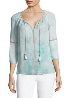 Elie Tahari Lucile Silk Bell Sleeve Blouse