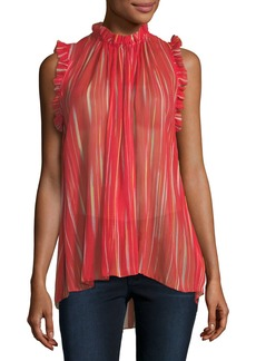 Elie Tahari Lucy Striped Silk Blouse