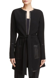 Elie Tahari Luma Leather Detail Coat