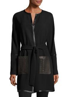Elie Tahari Luma Leather-Trimmed Crepe Coat