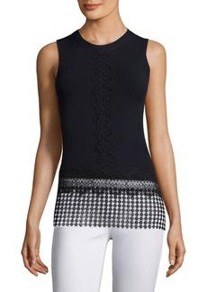 Elie Tahari Lyndi Sleeveless Lace Trim Sweater