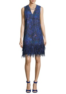 Elie Tahari Lyra Feather-Trim Shift Dress