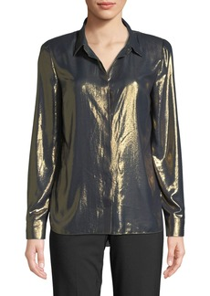 Elie Tahari Macklyn Button-Front Long-Sleeve Metallic Blouse