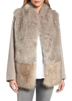 Elie Tahari Maddie Wool Blend Sleeve Faux Fur Jacket