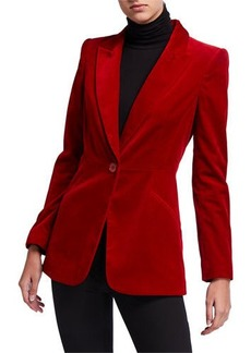 Elie Tahari Madison One-Button Velvet Jacket