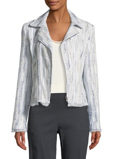 Elie Tahari Mae Fringed-Trim Tweed Jacket