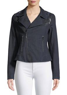 Elie Tahari Mae Lace-Inset Denim Moto Jacket