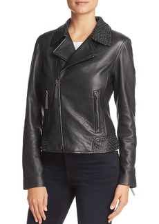 Elie Tahari Mae Leather Motorcycle Jacket