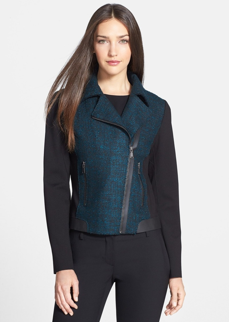 Elie Tahari 'Mae' Mixed Media Moto Jacket