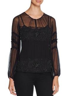 Elie Tahari Maeve Embellished Silk Blouse