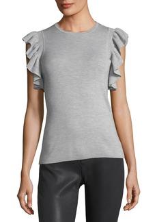 Elie Tahari Magdalene Ruffle-Sleeve Sweater