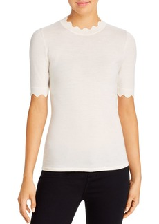 Elie Tahari Maggie Scalloped Merino Wool Sweater