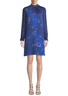 Elie Tahari Malaysia Floral-Print Long-Sleeve Silk Dress