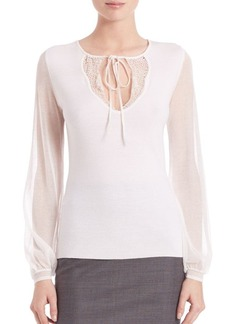 Elie Tahari Malia Merino Wool Sheer Sleeve Top
