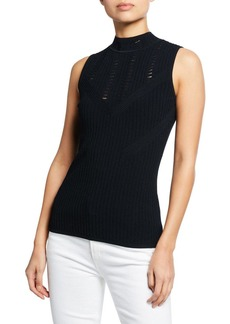 Elie Tahari Malikah Mock-Neck Sleeveless Sweater