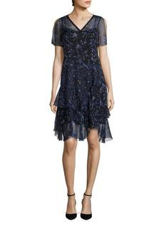 Elie Tahari Marceline Silk Ruffle Hem Dress