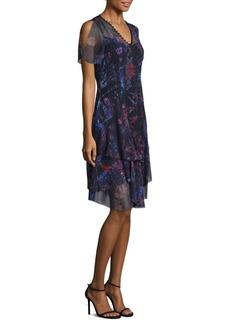 Elie Tahari Marcelline Printed Silk Cold Shoulder Dress
