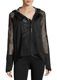 Elie Tahari Margie Asymmetric Lace-Panel Performance Jacket