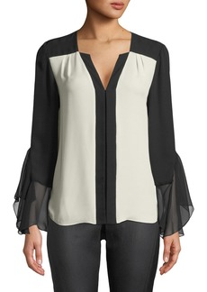 Elie Tahari Margita Two-Tone Silk Blouse