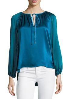 Elie Tahari Mariella Colorblocked Silk & Velvet Blouse