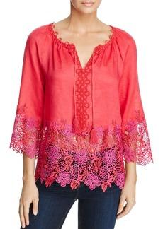 Elie Tahari Mariella Floral Crochet Peasant Blouse