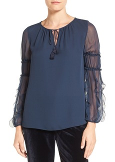 Elie Tahari 'Marielle' Sheer Sleeve Silk Blouse