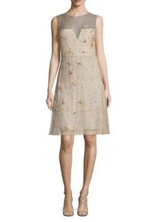 Elie Tahari Maritza Embellished Silk Dress
